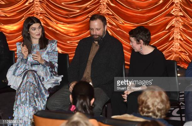 Rachel Weisz Yorgos Lanthimos and Olivia Colman attend The Favourite London QA at Twentieth Century Fox on February 12 2019 in London England