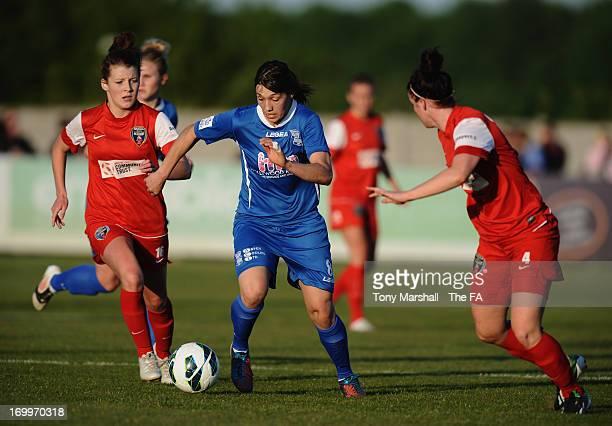 Rachel Williams of Birmingham City gets between Angharad James and Jasmine Matthews of Bristol Acadamy during The FA Women's Super League match...