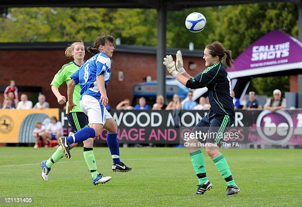 Rachel Williams of Birmingham City Ladies FC heads the winning goal past Carly Telford of Chelsea Ladies FC during the FA Women's Super League match...