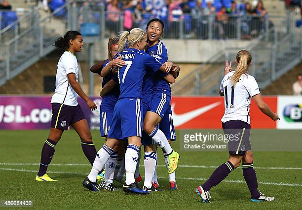 Rachel Williams of Chelsea celebrates scoring her first goal of the game with team mates during the FA WSL match between Chelsea Ladies and Everton...