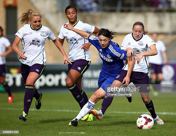 Rachel Williams of Chelsea looks to hold off Vickey Jones and Alex Greenwood of Everton during the FA WSL match between Chelsea Ladies and Everton...