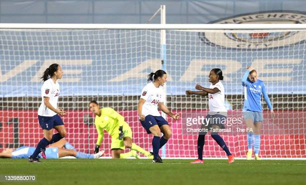 Rachel Williams of Tottenham Hotspur celebrates after scoring their side's first goal during the Barclays FA Women's Super League match between...