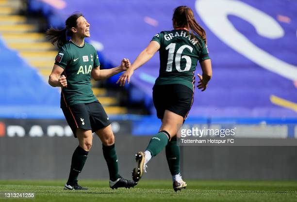 Rachel Williams of Tottenham Hotspur celebrates during the Vitality Women's FA Cup Fourth Round match between Reading Women and Tottenham Hotspur...