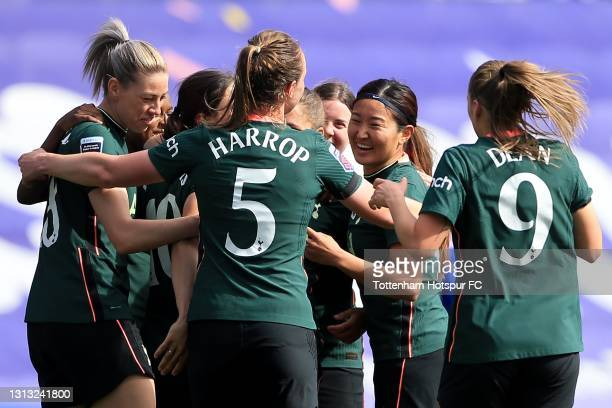 Rachel Williams of Tottenham Hotspur is mobbed by team mates as she celebrates scoring during the Vitality Women's FA Cup Fourth Round match between...