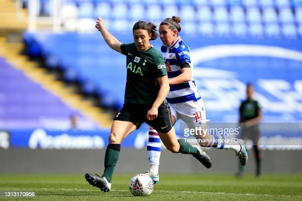 Rachel Williams of Tottenham Hotspur shoots during the Vitality Women's FA Cup Fourth Round match between Reading Women and Tottenham Hotspur Women...