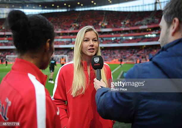 Rachel Yankey and Anouk Hoogendijk of the Arsenal Ladies are interviewed before the match between Arsenal and Newcastle United in the Barclays...