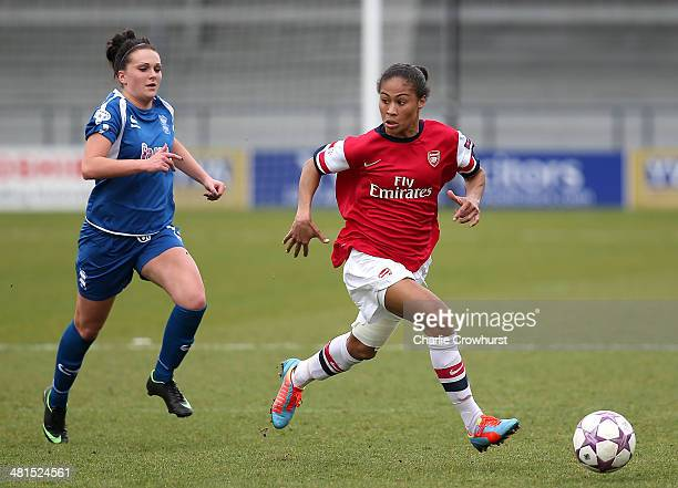 Rachel Yankey of Arsenal attacks during the Womens UEFA Champions League Quarter Final match between Arsenal Ladies and Birmingham City Ladies at The...