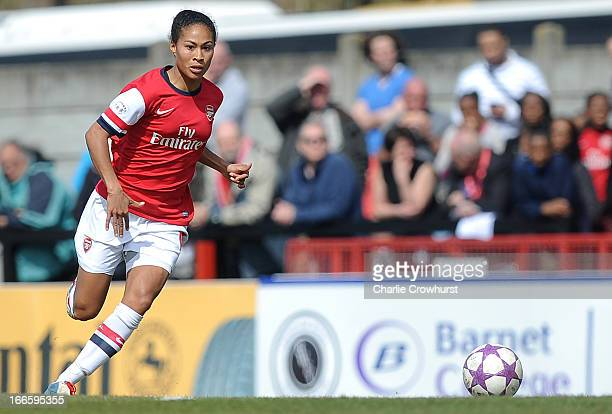 Rachel Yankey of Arsenal during the UEFA Women's Champions League Semi Final First Leg match between Arsenal Ladies and VFL Wolfsburg at Meadow Park...