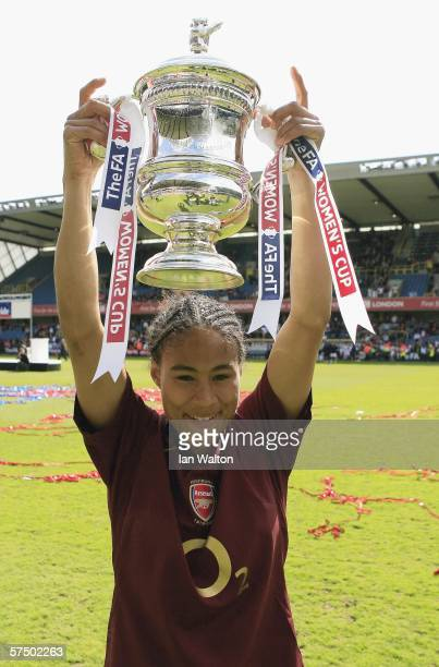 Rachel Yankey of Arsenal Ladies celebrates after winning the Womens FA Cup Final match between Leeds United Ladies v Arsenal Ladies at the New Den on...