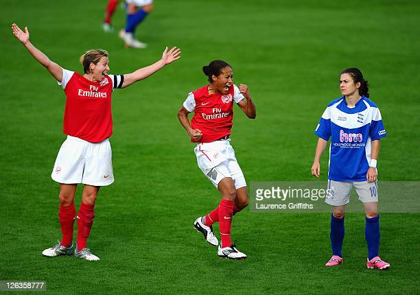 Rachel Yankey of Arsenal Ladies celebrates the fourth goal in front of Jayne Ludlow and Karen Carney of Birmingham City during the FA WSL Continental...