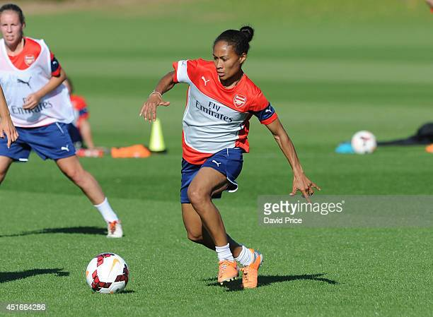 Rachel Yankey of Arsenal Ladies during their training session at London Colney on July 3 2014 in St Albans England