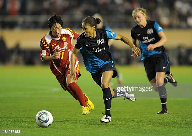 Rachel Yankey of Arsenal Ladies FC takes on Megumi Takara of INAC during a friendly game against INAC Kobe at the Nishigaoka Stadium on November 30...