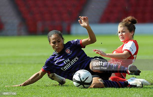 Rachel Yankey of Arsenal Ladies is brought down in a challenge by Angharad James of Bristol Academy during The FA Women's Cup Final match between...