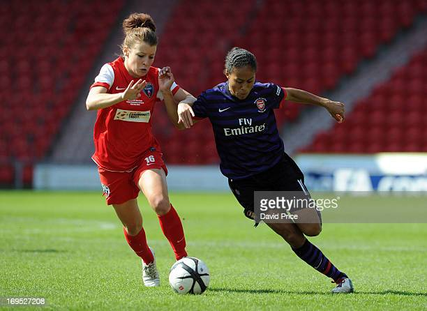 Rachel Yankey of Arsenal Ladies is challenged by Angharad James of Bristol Academy during The FA Women's Cup Final match between Bristol Academy...