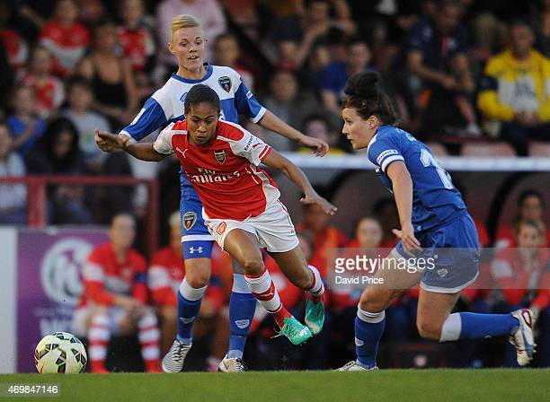 Rachel Yankey of Arsenal takes on Sophie Ingle and Angharad James of Bristol during the WSL match between Arsenal Ladies and Bristol Academy at...