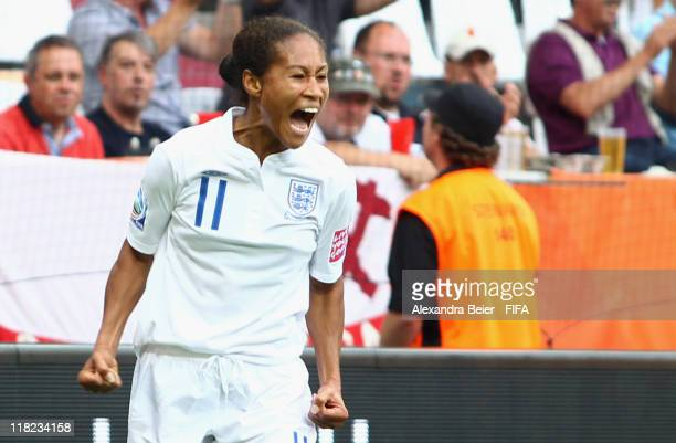 Rachel Yankey of England celebrates her first goal during the FIFA Women's World Cup 2011 group B match between England and Japan at FIFA World Cup...