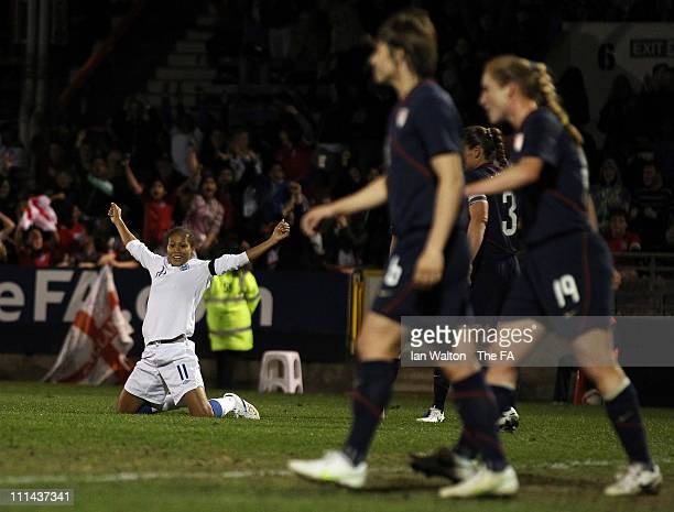 Rachel Yankey of England celebrates scoring a goal during the England Women and USA Ladies match at Matchroom Stadium on April 2, 2011 in London,...