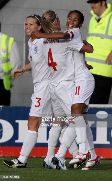 Rachel Yankey of England celebrates with team mate Katie Chapman after scoring the first goal during the FIFA Womens World Cup Qualifiying match...