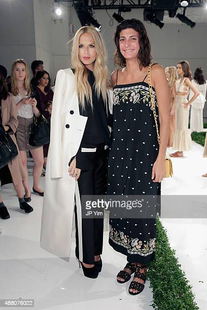 Rachel Zoe and Giovanna Battaglia pose on the runway at Rachel Zoe Spring 2016 during New York Fashion Week The Shows at The Space Skylight at...