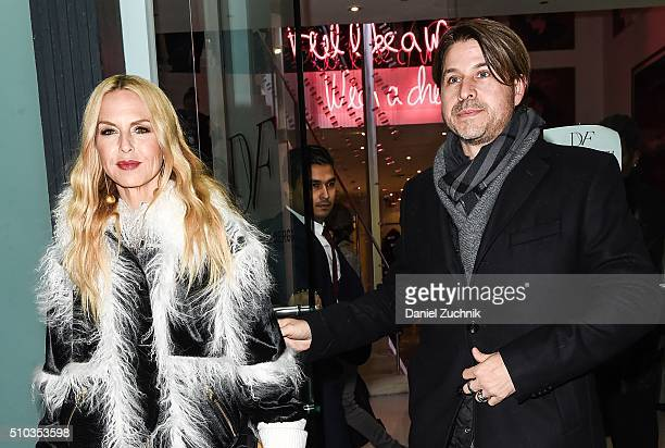Rachel Zoe and husband Rodger Berman are seen outside the DVF show during New York Fashion Week: Women's Fall/Winter 2016 on February 14, 2016 in New...