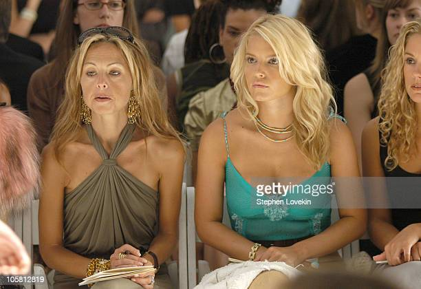 Rachel Zoe and Jessica Simpson during Olympus Fashion Week Spring 2005 J Mendel Front Row at Plaza Tent Bryant Park in New York City New York United...