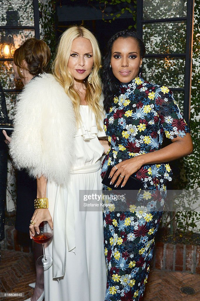 Rachel Zoe and Kerry Washington attend a dinner celebrating Kerry Washington hosted by ELLE, Editor-In-Chief, Robbie Myers and Movado, Chairman & CEO, Efraim Grinberg at A.O.C. on April 2, 2016 in Los Angeles, California.