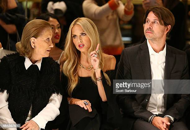 Rachel Zoe and Rodger Berman watch the show during the 'Icons of Style' campaign launch at Chadstone Shopping Centre on August 20, 2015 in Melbourne,...