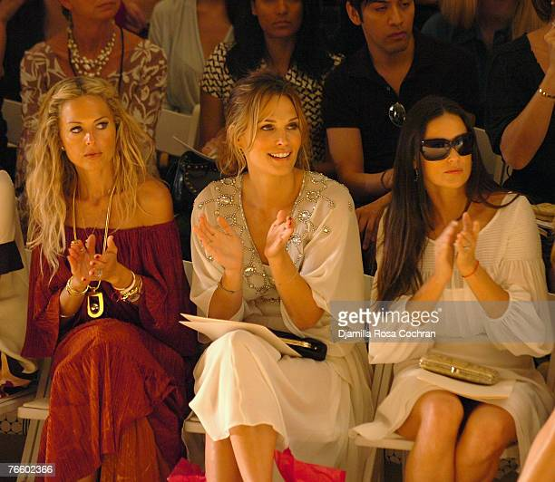 Rachel Zoe Molly Simms and Demi Moore attend the Temperley London Spring 2008 show during MercedesBenz Fashion Week at the Promenade Bryant Park on...
