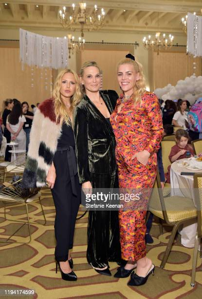 Rachel Zoe, Molly Sims and Busy Philipps attend The Baby2Baby Holiday Party Presented By FRAME And Uber at Montage Beverly Hills on December 15, 2019...