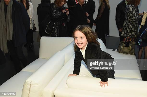 Rachel Zoe's son Skyler Berman attend the Rachel Zoe presentation during MercedesBenz Fashion Week Fall 2015 at Affirmation Arts on February 17 2015...