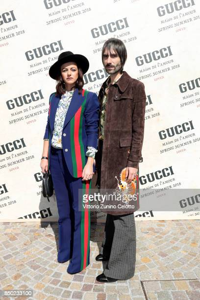 Rachele Bastreghi and Francesco Bianconi arrive at the Gucci show during Milan Fashion Week Spring/Summer 2018 on September 20 2017 in Milan Italy