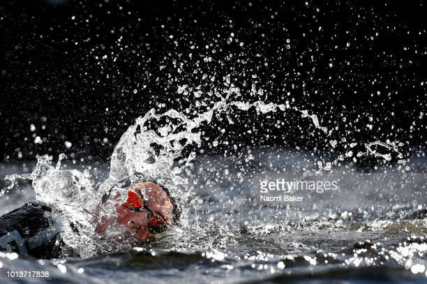 Rachele Bruni of Italy competes in the Women's 10km race during the open water swimming on Day eight of the European Championships Glasgow 2018 at...