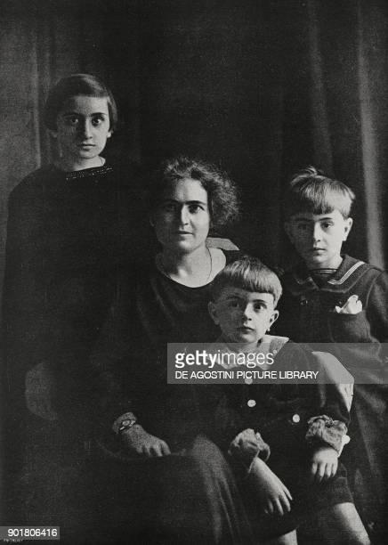 Rachele Guidi Benito Mussolini's wife with their children Edda Vittorio and Bruno from L'Illustrazione Italiana Year L No 10 March 11 1923