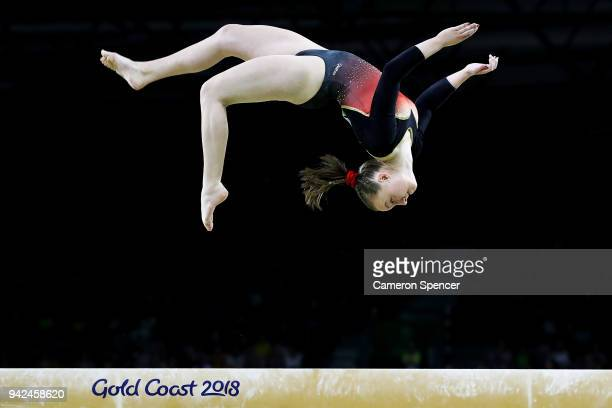 Rachelle Flambard of Jersey competes on the beam during the Gymnastics Artistic Women's Team Final and Individual Qualification on day two of the...