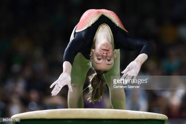 Rachelle Flambard of Jersey competes on the vault during the Gymnastics Artistic Women's Team Final and Individual Qualification on day two of the...