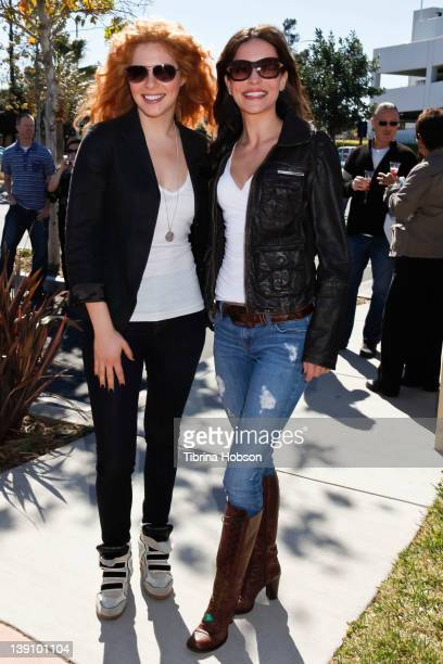 Rachelle Lefevre and Emmanuelle Vaugier attend the Best Friends Animal Society pet adoption and spay and neuter services grand opening at Northeast...