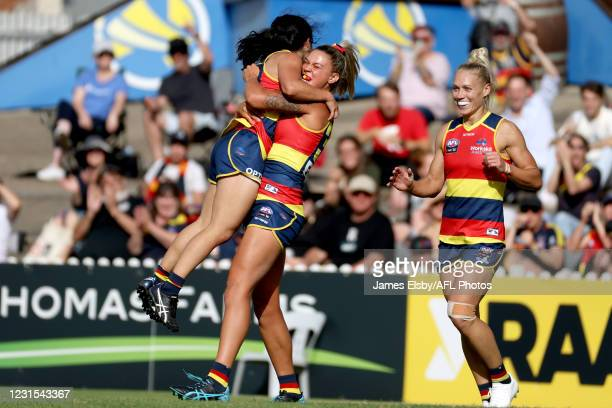 Rachelle Martin of the Crows celebrates a goal during the 2021 AFLW Round 06 match between the Adelaide Crows and the Gold Coast Suns at Norwood Oval...
