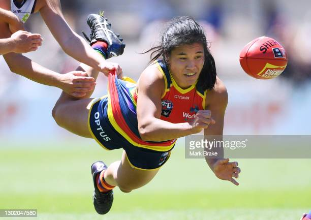 Rachelle Martin of the Crows handballs during the round three AFLW match between the Adelaide Crows and the Fremantle Dockers at Norwood Oval on...