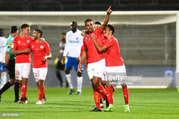 Rachid Alioui of Nimes celebrates his goal during the Ligue 2 match between Nimes and Aj auxerre on September 15 2017 in Nimes France