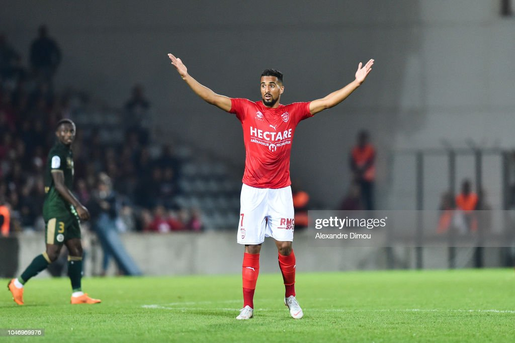 25E JOURNÉE DE LIGUE 1 CONFORAMA : NÎMES OLYMPIQUE -  DIJON FCO Rachid-alioui-of-nimes-during-the-ligue-1-match-between-nimes-and-at-picture-id1046969976