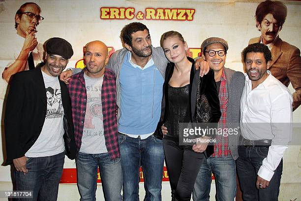 Rachid Dhibou Eric Judor Ramzy Bedia Anca Radici and Frederic Chau attend the 'Halal Police d'etat' premiere at UGC Cine Cite Bercy on February 15...