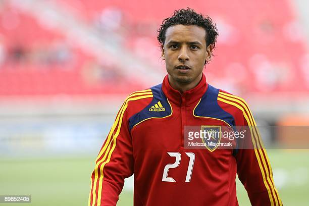 Rachid El Khalifi of Real Salt Lake walks off the field at the game against the Seattle Sounders FC at Rio Tinto Stadium on August 08 2009 in Sandy...