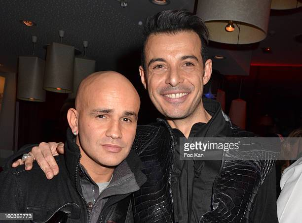 Rachid Ferrache and Eric Tibusch attend the Eric Tibusch Spring/Summer 2013 HauteCouture show afterparty as part of Paris Fashion Week at Hotel...