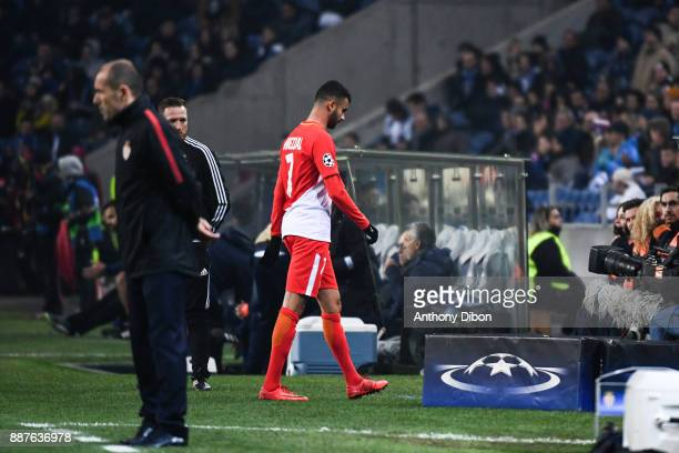 Rachid Ghezzal dejected after he receives a red card during the Uefa Champions League match between Fc Porto and As Monaco at Estadio do Dragao on...