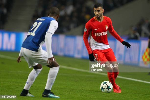 Rachid Ghezzal midfielder of AS Monaco FC during the UEFA Champions League Group G match between FC Porto and AS Monaco FC at Dragao Stadium on...
