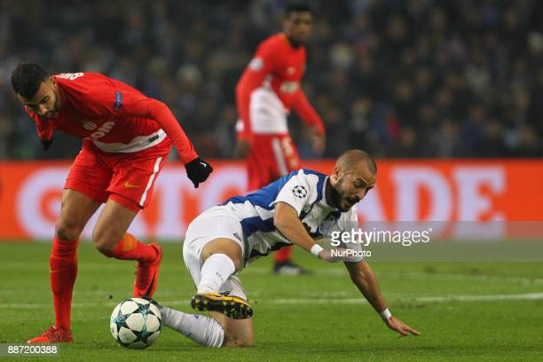 Rachid Ghezzal midfielder of AS Monaco FC with Porto's Portuguese midfielder Andre Andre during the UEFA Champions League Group G match between FC...