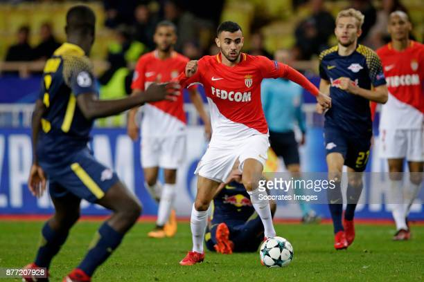 Rachid Ghezzal of AS Monaco during the UEFA Champions League match between AS Monaco v RB Leipzig at the Stade Louis II on November 21 2017 in Monaco...