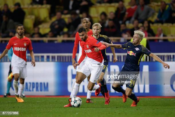 Rachid Ghezzal of AS Monaco Kevin Kampl of RB Leipzig during the UEFA Champions League match between AS Monaco v RB Leipzig at the Stade Louis II on...