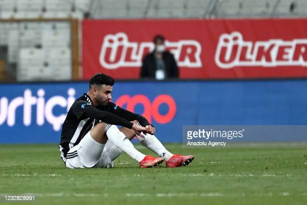 Rachid Ghezzal of Besiktas gestures at the end of Turkish Super Lig week 41 soccer match between Besiktas and Fatih Karagumruk at Vodafone Arena in...