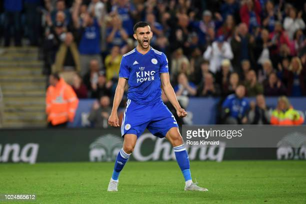 Rachid Ghezzal of Leicester City celebrates after scoring his team's fourth goal during the Carabao Cup Second Round match between Leicester City and...